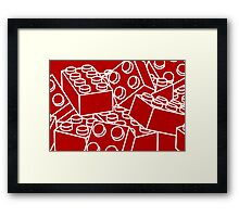 Red with white bricks Framed Print