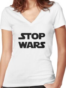 Stop wars (black) Women's Fitted V-Neck T-Shirt