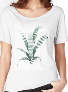 Tiger Plant Watercolor Painting Women's Relaxed Fit T-Shirt