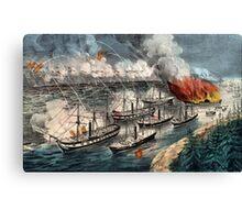 Admiral Farragut's fleet engaging the rebel batteries at Port Hudson - 1863 Canvas Print