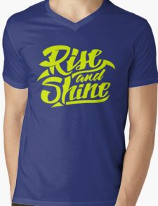 Rise and Shine - Cool Hand Lettering Typography Design Mens V-Neck T-Shirt