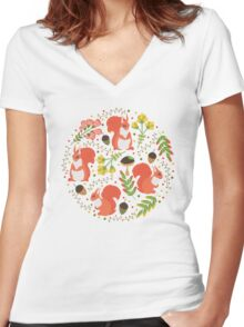 Squirrels Women's Fitted V-Neck T-Shirt