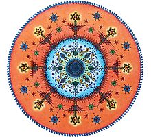 Orange Blue Fire Altar Mandala Photographic Print