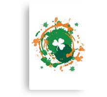 Cool Lucky Clover - Ink Background  Canvas Print