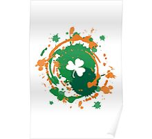Cool Lucky Clover - Ink Background  Poster