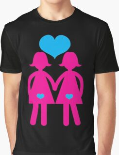 Lesbian girls love hearts together Graphic T-Shirt