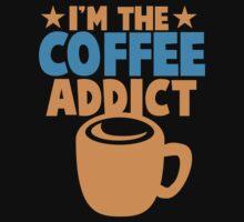 I'm the COFFEE ADDICT with coffee mug and stars Kids Tee