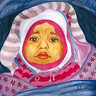 Wrapped Up, Baby Portrait in Watercolor by Almonda