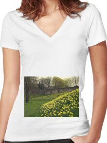 Daffodils in April Women's Fitted V-Neck T-Shirt