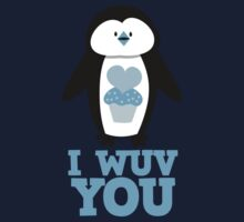 I Wuv you with cute penguin One Piece - Short Sleeve
