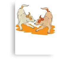 Two heeler pups playing tag Canvas Print