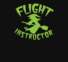 FLIGHT INSTRUCTOR with cute flying witch on a broomstick Womens Fitted T-Shirt