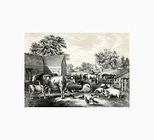 American farm yard - evening - Currier & Ives - 1857 Unisex T-Shirt