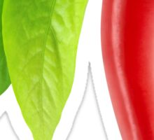 Chili pepper with stem and leaves Sticker
