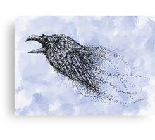 Dot work Crow on Watercolour Canvas Print