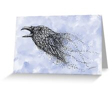 Dot work Crow on Watercolour Greeting Card
