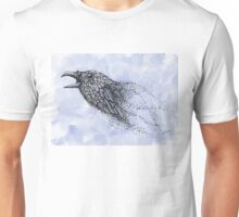 Dot work Crow on Watercolour Unisex T-Shirt