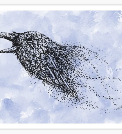 Dot work Crow on Watercolour Sticker