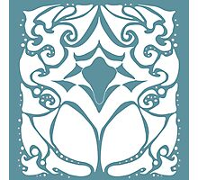 Pattern Series: White and Teal Swirl Photographic Print