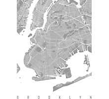 Brooklyn map grey Photographic Print