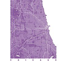 Chicago map lilac Photographic Print