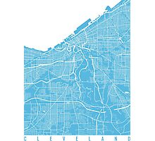 Cleveland map blue Photographic Print