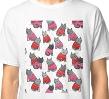 Sweater Cats valentine love cute kitten // pink red andrea lauren  Classic T-Shirt