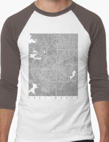 Fort Worth map grey Men's Baseball ¾ T-Shirt