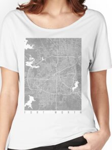 Fort Worth map grey Women's Relaxed Fit T-Shirt