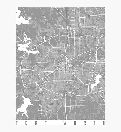 Fort Worth map grey Photographic Print