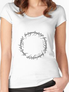 The One Ring Text - Black  Women's Fitted Scoop T-Shirt
