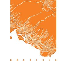 Honolulu map orange Photographic Print