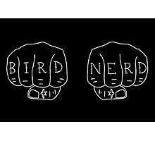 Bird Nerd - White on Black Photographic Print