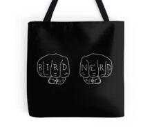 Bird Nerd - White on Black Tote Bag
