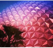 Sunset as Spaceship Earth (Epcot Ball) Photographic Print