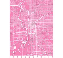 Indianapolis map pink Photographic Print