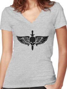Space Marine Symbol Women's Fitted V-Neck T-Shirt