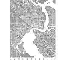 Jacksonville map grey Photographic Print