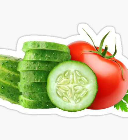 Tomato and slices of cucumber Sticker