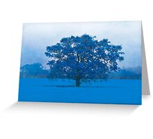 Cold Tree In A Field Of Blue Greeting Card