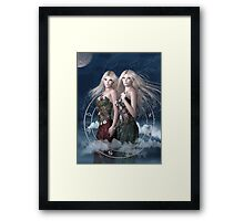 Gemini zodiac fantasy circle Framed Print