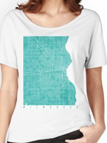 Milwaukee map turquoise Women's Relaxed Fit T-Shirt