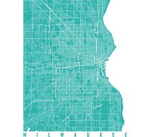 Milwaukee map turquoise Photographic Print
