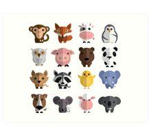 Flat animals Art Print