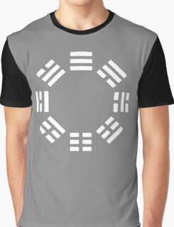I Ching, symbol, Book of Changes, WHITE on Black Graphic T-Shirt