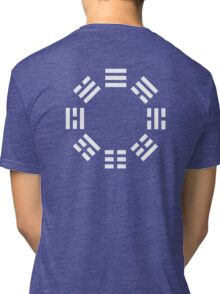 I Ching, symbol, Book of Changes, WHITE on Black Tri-blend T-Shirt