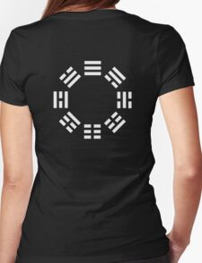 I Ching, symbol, Book of Changes, WHITE on Black Womens Fitted T-Shirt