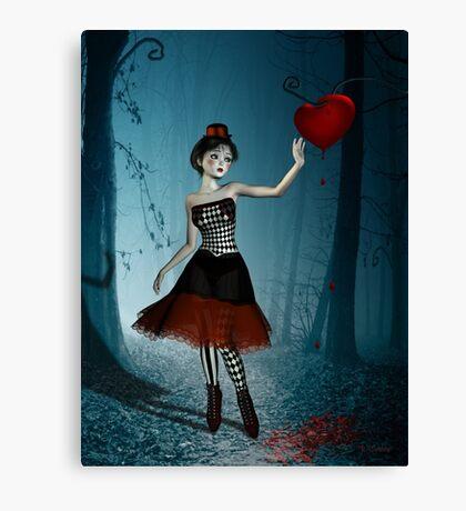 Bleeding heart - circus doll Canvas Print