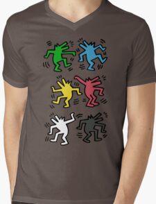 Lets Dance - HARING Mens V-Neck T-Shirt