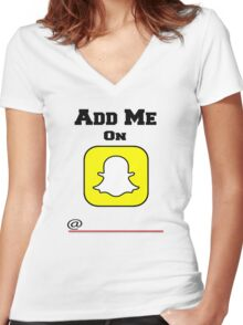 Add Me On SnapChat! Draw Your Own Name! Women's Fitted V-Neck T-Shirt